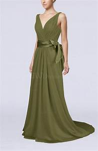 olive green elegant a line v neck sleeveless chiffon With olive green wedding dress