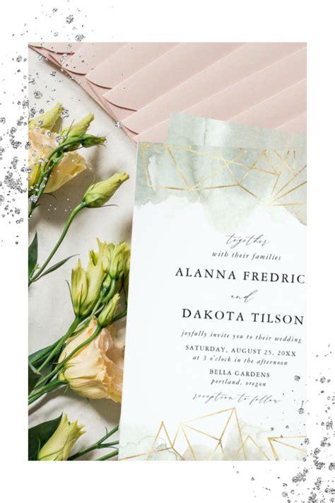 Sage Green Watercolor Wedding Invitation Geometric