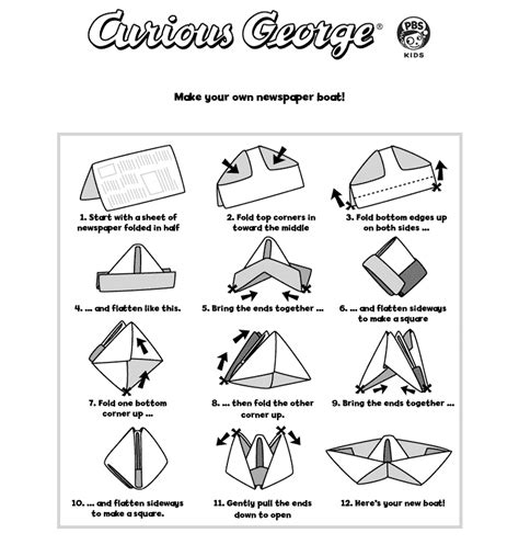 Paper Folding Of Boat by Curious George Printables Pbs