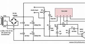 10w audio amplifier circuit by tda2030 circuitstune With tda2030 diagram