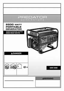 Manual For The 63083 6500 Peak  5500 Running Watts  13 Hp