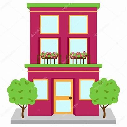 Apartment Building Vector Clipart Street Illustration Windows