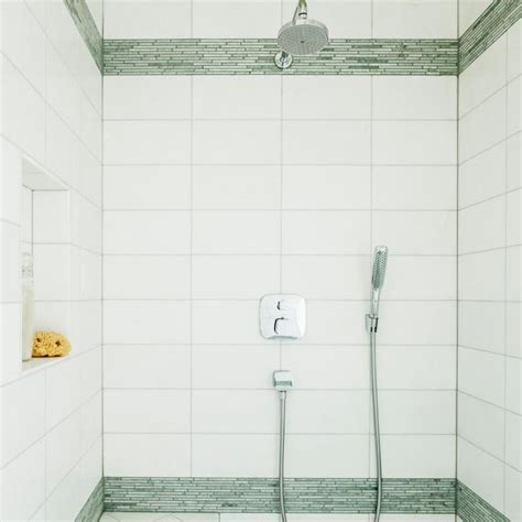 tile dress walk in shower with mosaic tile accents bands of mosaic