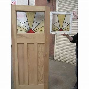 1930's Edwardian Original Stained Glass Exterior Door