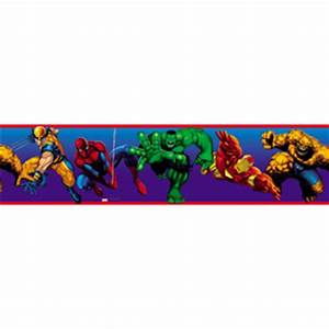 shop roommates marvel heroes peel and stick border at With kitchen cabinets lowes with marvel superhero wall art