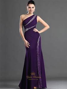 Purple Sheath One Shoulder Floor Length Prom Dresses With ...