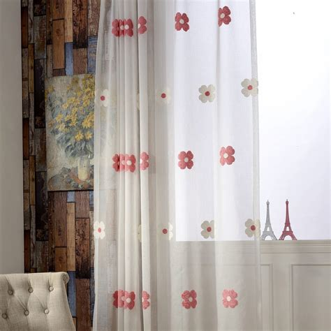 white floral embroidery sheer curtains