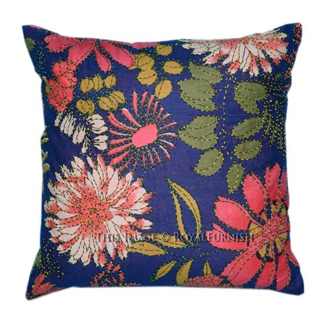 decorative throw pillow covers decorative indian kantha embroidered cotton throw pillow