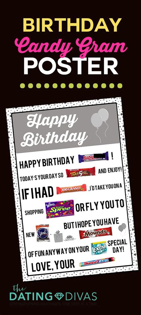 printable candy posters diy candy birthday cards