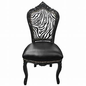 Chaise Style Baroque : chaise de style baroque rococo simili cuir noir dossier z bre et bois noir ~ Teatrodelosmanantiales.com Idées de Décoration
