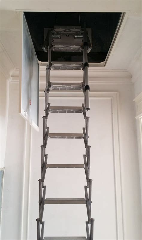 wall mounted handrail height loft access ladders custom size zip retractable ladders