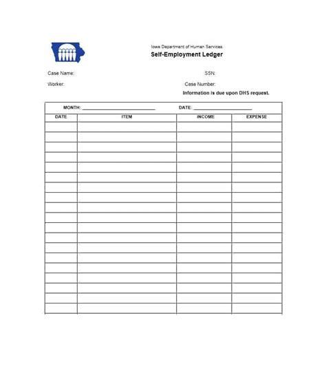 ledger template self employment ledger 40 free templates exles