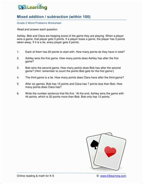 2nd Grade Math Word Problem Worksheets  Free And Printable  K5 Learning