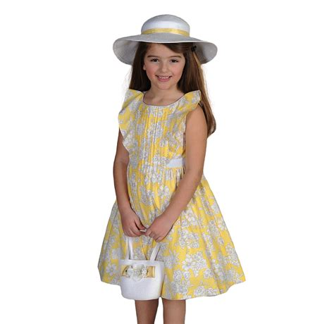 Yellow Floral Girls Cotton Easter Dresses