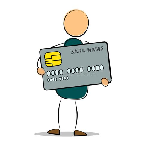 drawing man standing holding  credit card stock