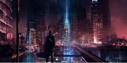 Futuristic Cyberpunk Night Cityscape Skyline Cyber Wallpapers