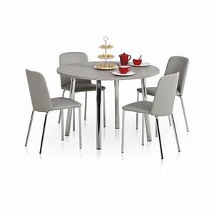 Table Ronde De Cuisine : table de cuisine en stratifi ovale ou ronde elli 4 pieds tables chaises et tabourets ~ Teatrodelosmanantiales.com Idées de Décoration