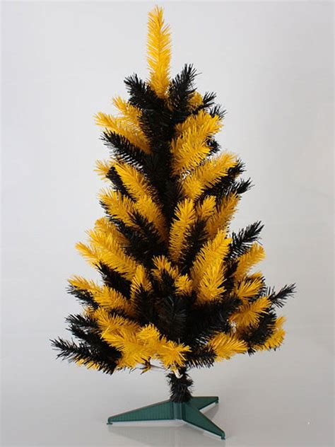 3 black and yellow pittsburgh steelers tree