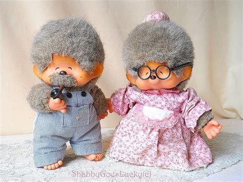 Granny Grandpa Monkey Dolls Japan Vintage Monchhichi