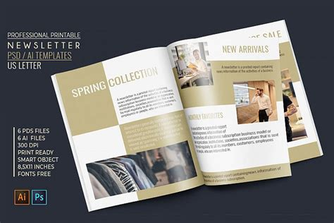 professional newsletter  printable templates psd