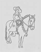 Cowgirl Coloring Horse Dancing Western sketch template