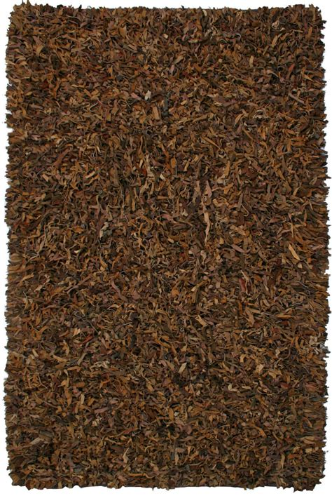 leather shag rug st croix st croix pelle leather shag ld02 brown area