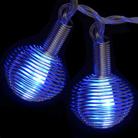 15 battery operated blue led silver metal spiral lights