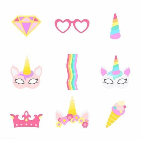 Ai (adobe illustrator) eps (encapsulated postscript). Cute unicorn photo booth party props vector   free image ...