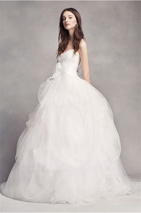 White By Vera Wang Taffeta And Tulle Wedding Dress