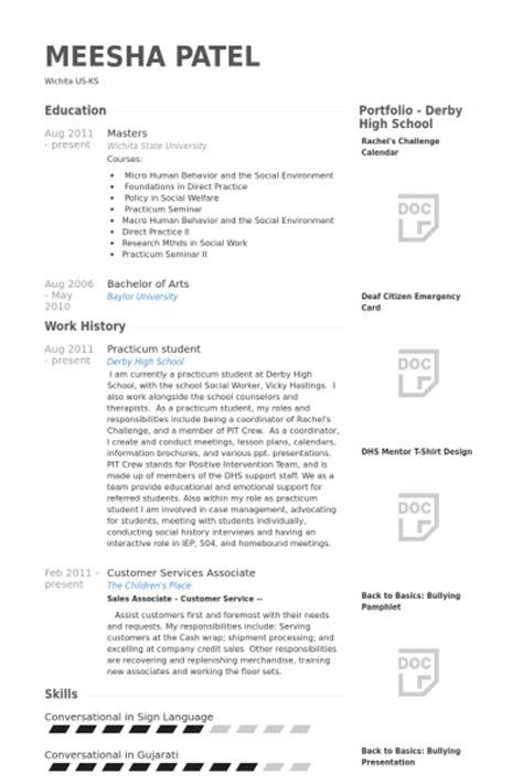 practicum student resume sles visualcv resume sles