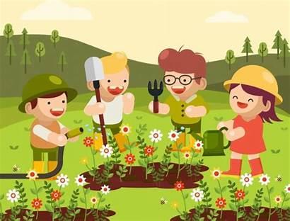Cartoon Gardening Background Garden Theme Vector Joyful