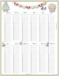 Free Birthday List Template