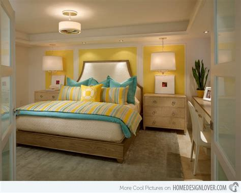 15 Lovely Gray, Turquoise And Yellow Bed Room Styles