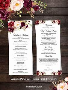 wedding ceremony programs templates slim wedding program romantic blossoms floral marsala