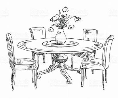 Table Drawing Vase Dining Round Flowers Sketch
