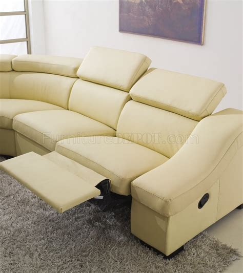 beige leather reclining sofa 8021 reclining sectional sofa in light beige full leather