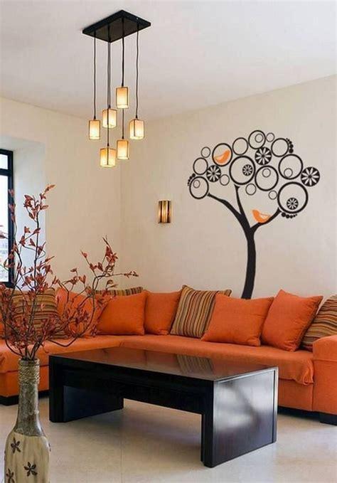 decoracion de salas de estar en color naranja salas color