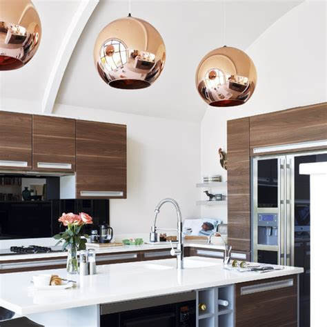 light shades for kitchens tom dixon copper shade pendant contemporary kitchen 7010