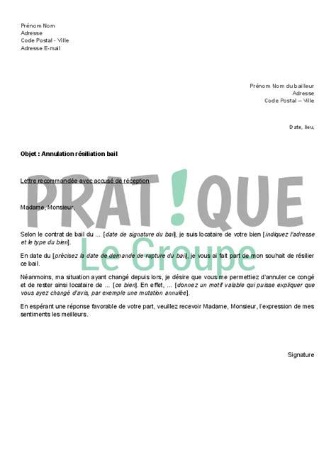 annulation commande cuisine lettre d 39 annulation de résiliation de bail pratique fr