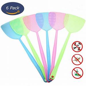 6 Pcs Fly Swatter Manual Swat Pest Control Plastic With