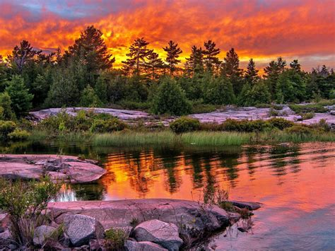 lake sunset red clouds trees stones wallpaperscom