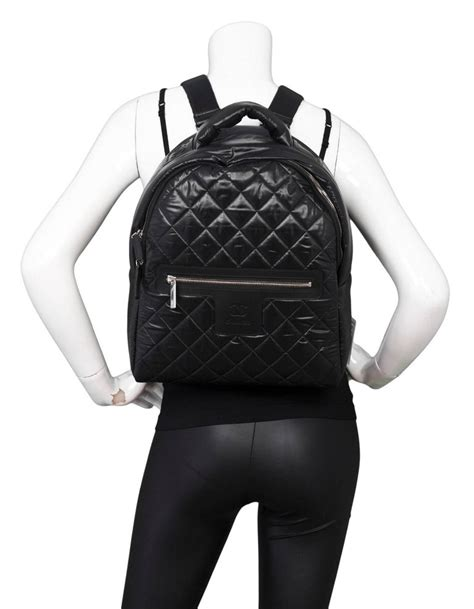 chanel   black quilted nylon coco cocoon backpack bag  stdibs