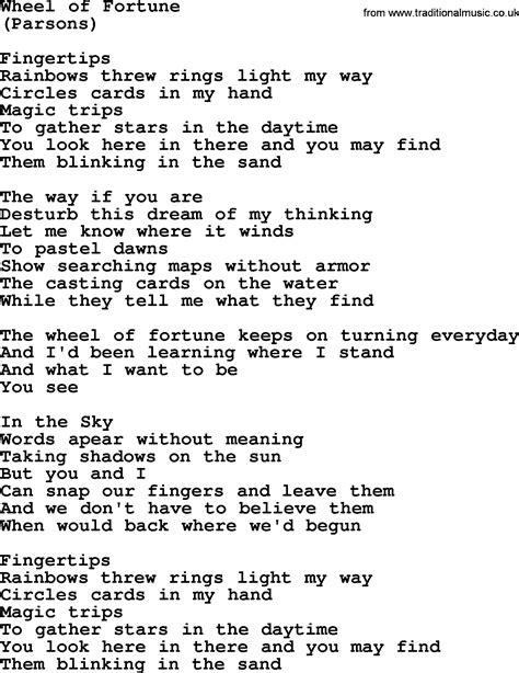 fortune wheel pdf byrds song lyrics printing etc file
