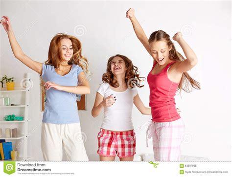 Happy Friends Teen Girls Having Fun Home Stock Image