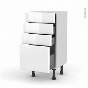 Meuble Bas Cuisine Blanc : meuble de cuisine bas iris blanc 4 tiroirs l40 x h70 x p37 ~ Teatrodelosmanantiales.com Idées de Décoration