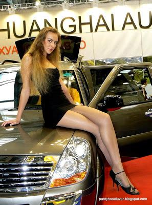 leggy car show model  short dress  pantyhose