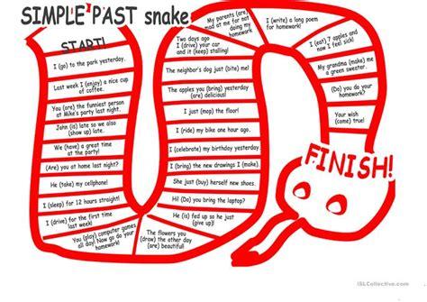 The Simple Past Tense Snake Worksheet  Free Esl Printable Worksheets Made By Teachers