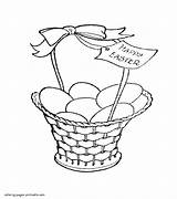 Coloring Easter Pages Basket Eggs Printable Holiday Print sketch template