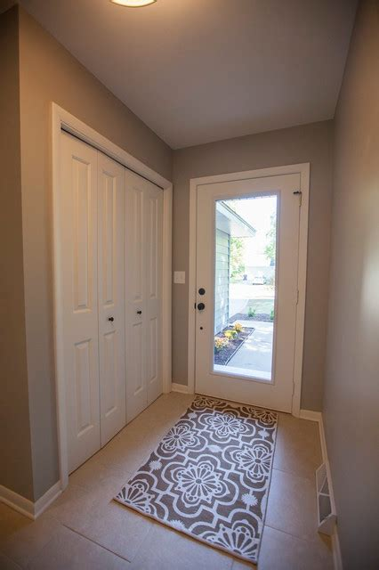 sherwin williams mindful gray paint  entry