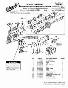 Milwaukee 0501-02 900a Parts  2 Cordless Drill